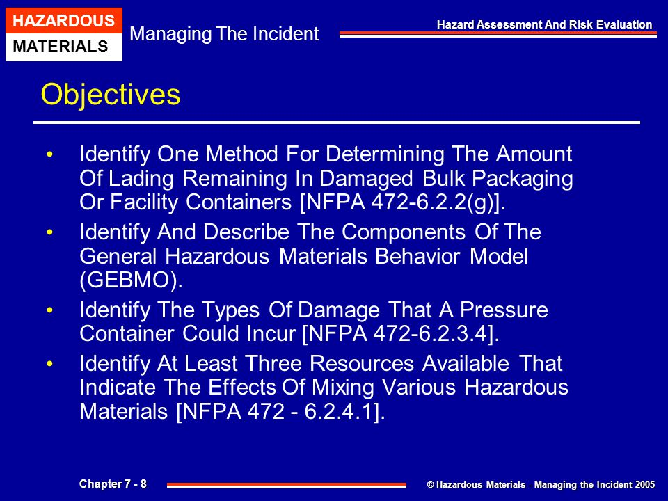 Objectives Identify One Method For Determining The Amount Of Lading Remaining In Damaged Bulk Packaging Or Facility Containers [NFPA 472-6.2.2(g)].